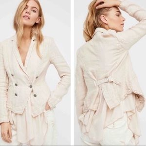 Free People | Linen Layered Ruffle Jacket blush